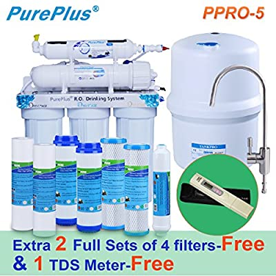 PurePlus Undersink Reverse Osmosis Drinking Water Filtration System (5 Stage),Extra 2 full sets of 4 filters & 1 TDS Meter for free