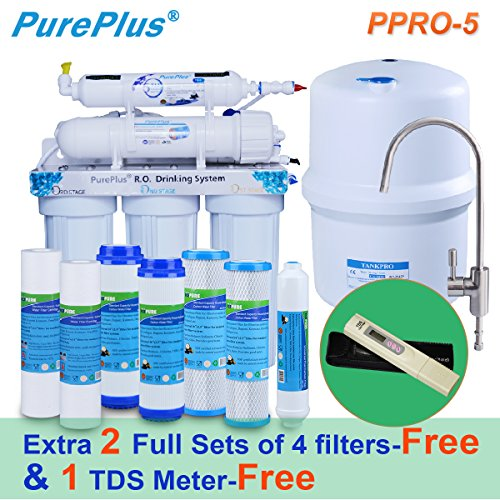 PurePlus Undersink Reverse Osmosis Drinking Water Filtration System (5 Stage),Extra 2 full sets of 4 filters & 1 TDS Meter for free by PurePlus