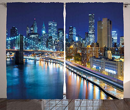 Ambesonne Landscape Curtains, View of Famous New York City Manhattan Bay Harbour at Night and Skyscrapers Print, Living Room Bedroom Window Drapes 2 Panel Set, 108
