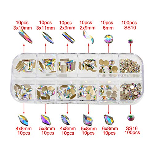 AD Beads Mixed Shape Box Set Top Quality Flatback Crystal Multi-Shape Rhinestone Nail Art Decoration 300 Pcs (Clear AB)