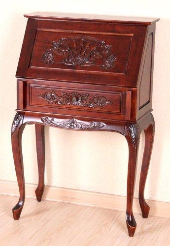 Beau International Caravan Windsor Carved Wood Hard Wood Small Secretary Desk    Walnut
