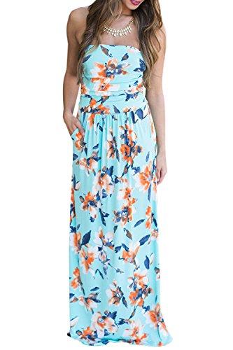 YMING Mujer Bandeau Vestido Floral Boho Estilo Flor Imprimir Beachwear Cover-UP Maxi vestido con bolsillo S-XL Azul cielo, flor naranja