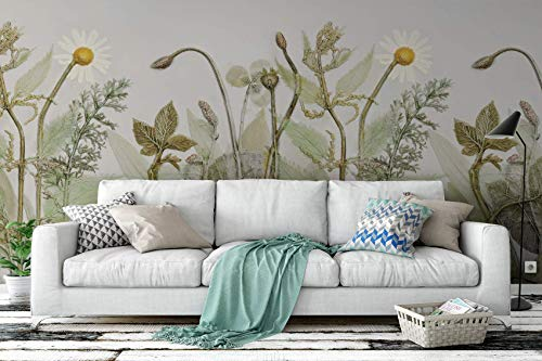 Murwall Vintage Wallpaper Green Plants Wall Mural Daisy Wall Print Rustic Home Decor Cafe Design Living Room Bedroom