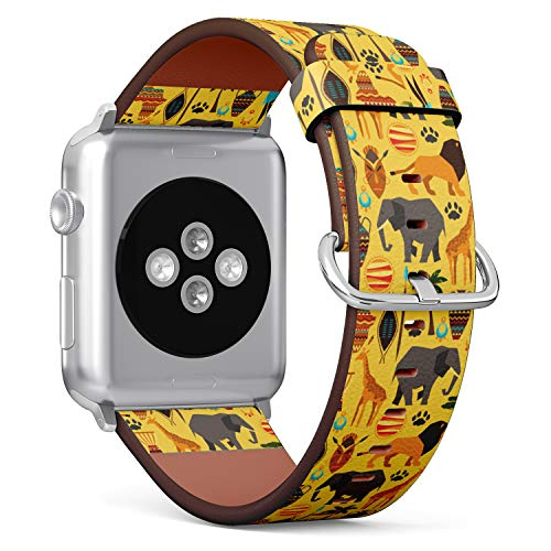 - (African Wild Animals Safari Pattern with Lion Elephant and Giraffe) Patterned Leather Wristband Strap for Apple Watch Series 4/3/2/1 gen,Replacement for iWatch 38mm / 40mm Bands
