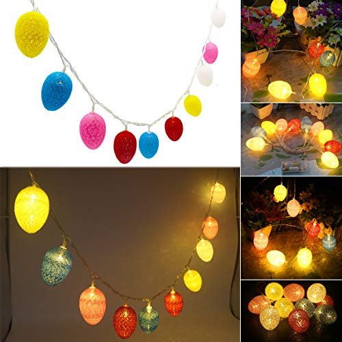 Lhomeled Easter Egg LED String Light by Battery Operated Fairy String Lights with Warm White Light Up 10 Cotton Eggs Ornament for Easter Decoration Garden Spring and Easter Tree Decoration 6.5ft from Lhomeled