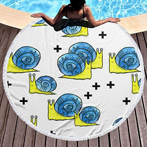 Lokjjtvfrxcgtg Snail Pattern Multi-Purpose Thick Round Beach Towel Blanket Circular Large Microfiber Terry Picnic Carpet Yoga Mat with Fringe 59 in -