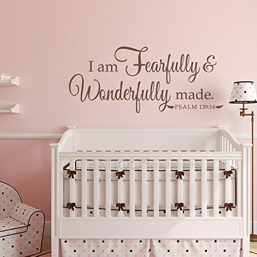 BATTOO I Am Fearfully and Wonderfully Made Psalm 139:14 Nursery or Child's Room Vinyl Wall Decal 40