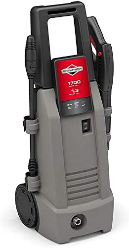 Briggs Stratton Electric Pressure Washer 1700 PSI 1.3 GPM with 26 High-Pressure Hose, Turbo Nozzle Detergent Injection
