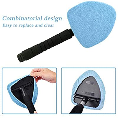 Silence Shopping Windshield Cleaner Tool,Pivoting Windshield Cleaning Tool,Glass Cleaning Wand for Car with 2PCS Reusable Pads with Free Organza Gift Bags: Automotive