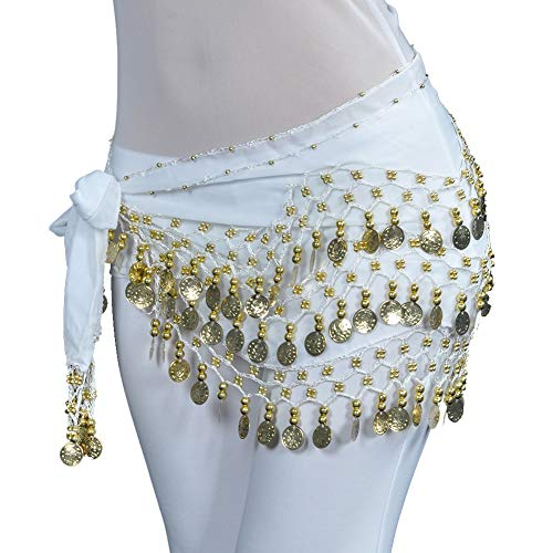 Uherebuy Chiffon Dangling Gold Coins Belly Dance Hip Skirt Scarf Belt (Scarf Coin Belt Belly Dance)