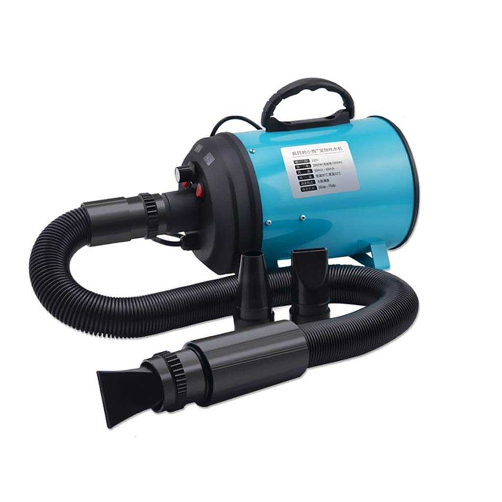bluee SN 2200W Pet Dryer, Professional Dog Cat Grooming Hairdryer Low Noise With 3 Nozzles Adjustable Temperature 2.5m Flexible Hose (color   bluee)