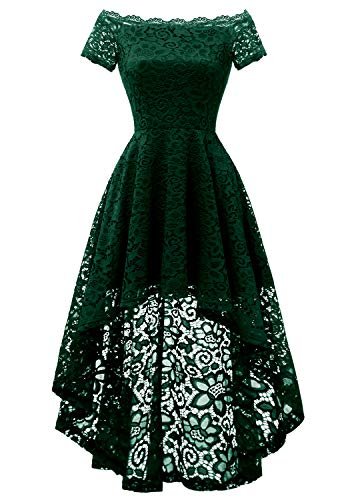 (Dressystar 0042 Lace Off Shoulder Hi-Lo Short Sleeve Formal Cocktail Dress DarkGreen XXL)