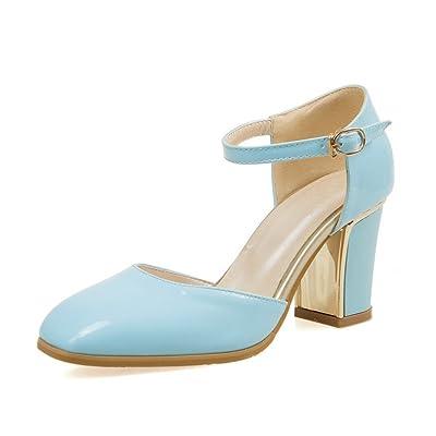 AdeeSu Femme Square-Toe Ankle-Cuff Polyuréthane Sandales Bleu Bleu Ciel, 37.5 EU, SLC00150