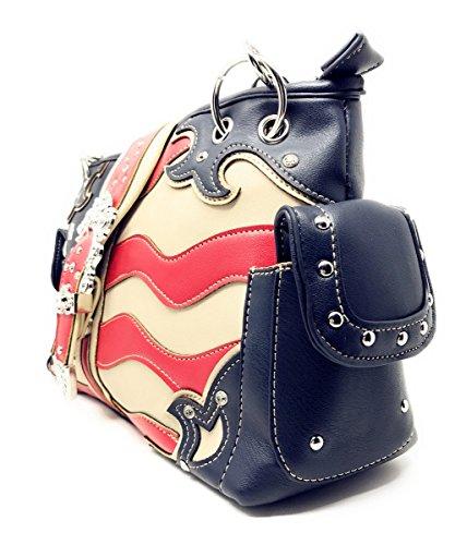 purse Concealed Western Carry Blue Handbag Flag Rhinestone American Women's Buckle aOqgAwRPcq