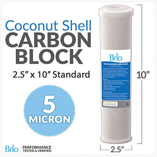 Go Green Bottles 1 PACK 5 Micron Active Carbon Block Water Filters/RO Systems- 2.5'' X 10'' by Brio