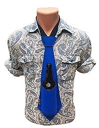 Bev Tie Neoprene Beer Bottle Can Beverage Holder Hands-Free Gag Gift Necktie