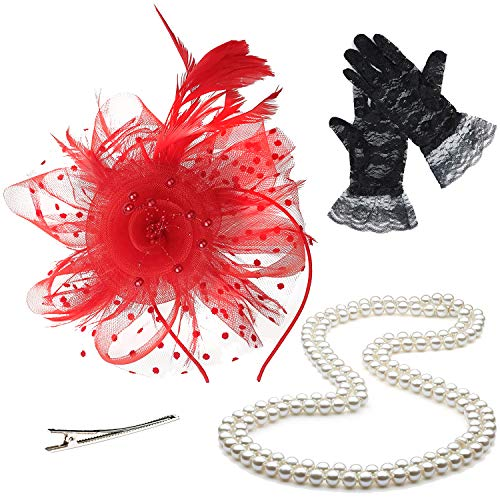 Fascinators Hats for Womens,Cocktail Party Hat,Tea Party Dress Headband,w/Pearl Necklace & Lace Gloves,Red ()
