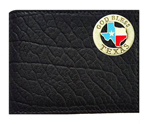 Black Wallet Concho Custom Leather made Flip on American ID God the a Bi Rugged in fold Texas Buffalo Proudly USA Bless Black apqCwav