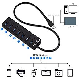 VOTRON 7-Port USB 3.0 Hub USB Cable Adapter with Independent Switch/LED Indicator for MAC Windows XP/Vista/7/8