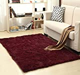 Ultra Soft Bedroom Carpet,Decorative Sitting Room Shaggy Area Rug, Fluffy Kids Playing Pad with Anti-Slip Bottom,Water Absorbent & Quick Dry Area Rug (Burgundy,31'' x 47'')