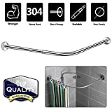 Ceiling Shower Curtain Track NiUB5 Curved Shower Rod,L Shaped,Corner Shower Curtain Rods,Adjustable 27.55