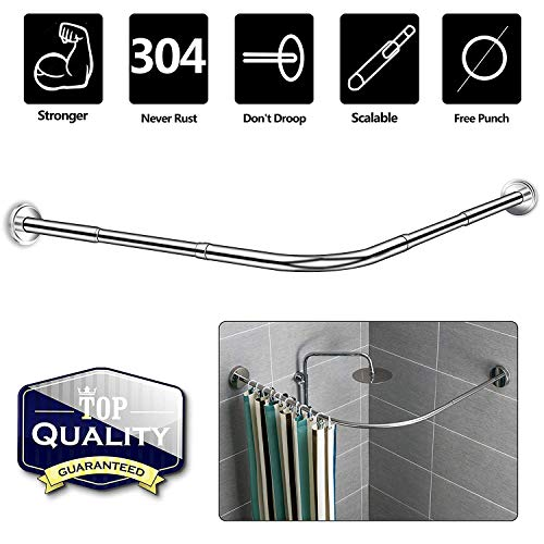 NiUB5 Curved Shower Rod,L Shaped,Corner Shower Curtain Rods,Adjustable 27.55