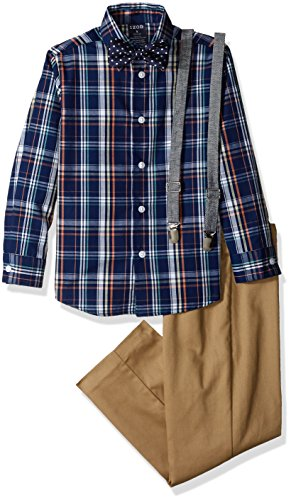 Izod Boys 4-Piece Suspender Set with Dress Shirt, Bow Tie, Pants, and Suspenders
