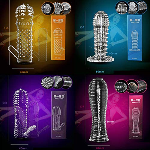 IGIFT 4 Crystal Sleeve Silicone Reusable Condom for Wedding and Lovers to Cover Extender Toys. by IGIFT