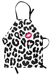 Ambesonne Safari Apron Leopard Cheetah Animal Print With Kiss Shape Lipstick Mark Dotted Trend Art Unisex Kitchen Bib Apron With Adjustable Neck For Cooking Baking Gardening Charcoal Grey Pink