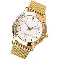 Fashion Women Crystal Golden Stainless Steel Analog Quartz Wrist Watch ,Tuscom
