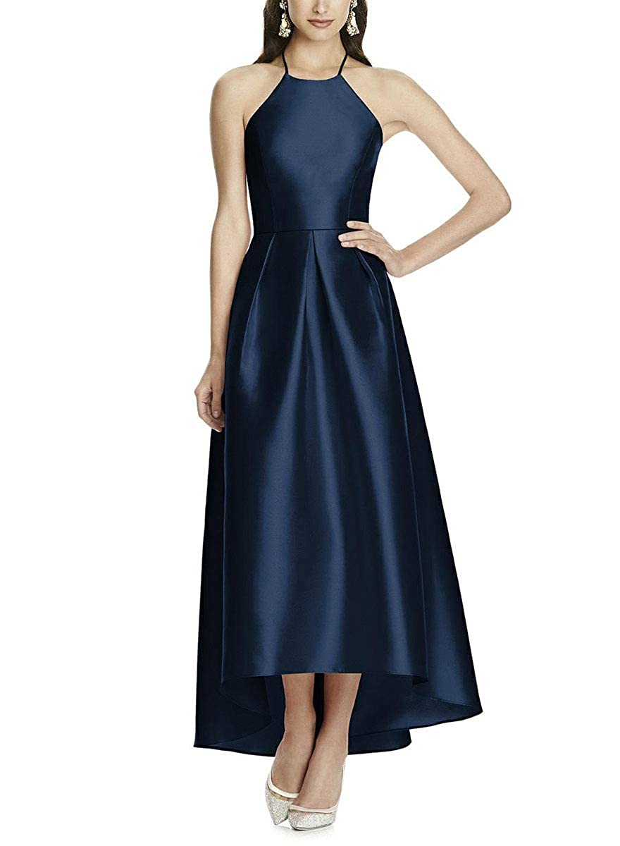 Navy bluee NewFex Halter Bridesmaid Dresses for Women High Low Satin Backless Formal Evening Gown