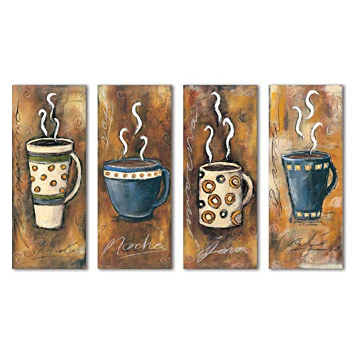 Gango Home Décor 4 Retro Coffee Print Panels; Frappacino, Latte, Java, Mocha; Four 8X20 Poster Prints
