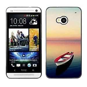Be Good Phone Accessory // Dura Cáscara cubierta Protectora Caso Carcasa Funda de Protección para HTC One M7 // Sea Sunset Calm Red Hope Freedom