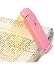 DEWENWILS Amber Book Light, USB Rechargeable Book Light for Reading in Bed, 3 Brightness Levels, Blue Light Blocking, LED Clip-on Reading Light for Kids, Bookworms, Pink