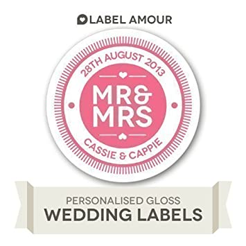 Personalised mr mrs wedding stickers large
