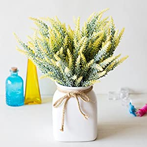 CATTREE Artificial Lavender, Plastic Plants Fake Flowers Bouquet Home Bridal Wedding Office Party Garden Balcony Indoor Outdoor DIY Centerpieces Arrangements Simulation Craft Decoration Yellow 4pcs 2