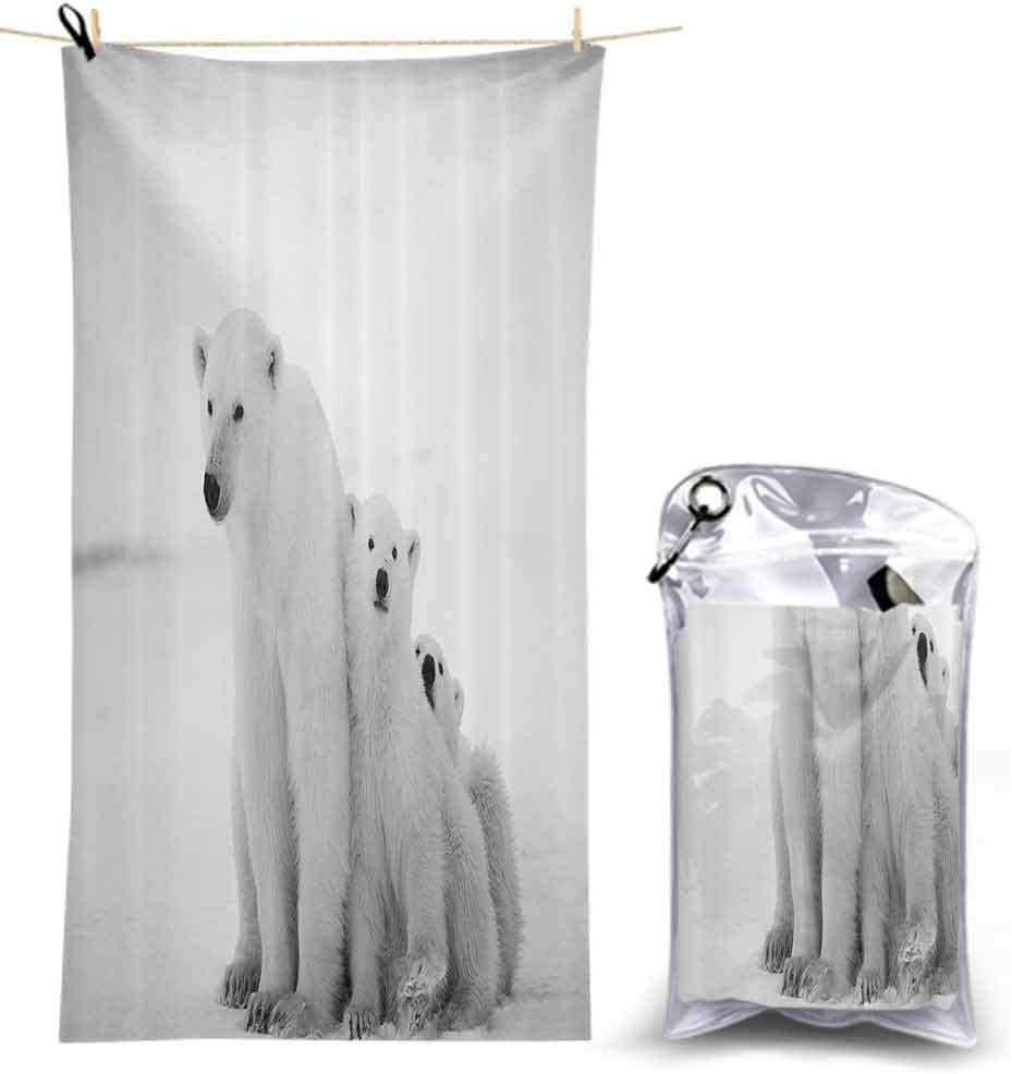 "Sea Animals Decor Collection, Quick Dry and Lightweight Microfiber Bath Towel, Polar Bear Family with Two Small Bear Cubs Around Snow Cold Winte, Towels Blanket for Pool Swimming, 55"" x 27.5"""