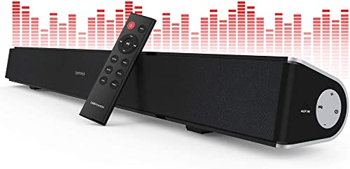 DBPOWER Soundbar for TV, 32 inch 2.1 Channel Wired and Wireless Bluetooth Optical Soundbar, Home Theater TV Speaker for TV PC Smartphone Stereo Surround Sound, Remote Controlled Wall-mountable