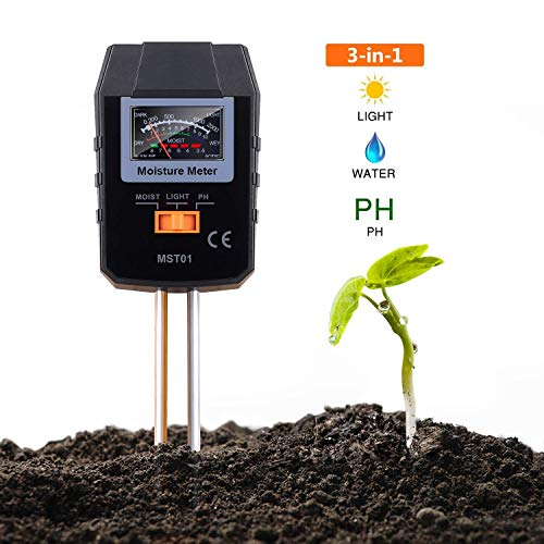 Soil Test Kit, 3-in-1 Soil Moisture Meter for Moisture, Light and PH, Ideal for Garden, Plant, Farm, Lawn, Indoor & Outdoor (No Battery Needed) - MST01