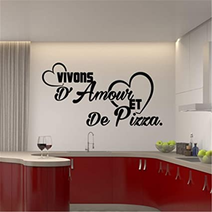 Grand Decals Wall Stickers Sayings Lettering Room Home Wall Decor Mural Art  French Quote Citation Vivons Avec