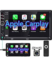 Double Din Car Stereo with Apple Carplay, Rimoody 7 Inch Touchscreen Car Radio Support Bluetooth FM Mirror Link for Android/iOS Phone USB/TF/Aux-in/RCA SWC Auto Radio + Backup Camera