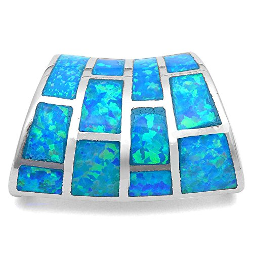 Lab Created Blue Fire Opal Slide .925 Sterling Silver Pendant (Silver Slide Pendant)