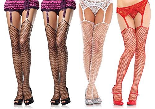 Leg Avenue Women's Spandex Industrial Net Stockings With Unfinished Top, Assorted, One Size, 4-Pair