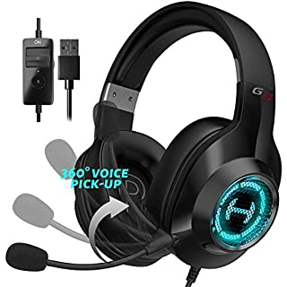 Edifier G2 II Gaming Headset for PC, PS4, USB Wired Gaming Headphones with 7.1 Surround Sound, Noise Canceling Microphone and RGB Light, 50mm Driver, Compatible with Mac, Desktop, Black