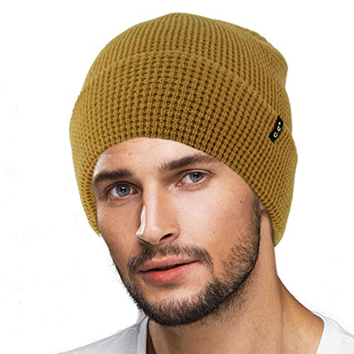 (Men's Winter Classic Soft Knit Stretchy Warm Beanie Skully Ski Hat Cap Waffle Solid)