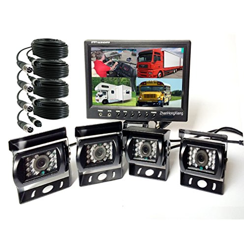 - Vehicle Backup Cameras Monitor kit 4 Pin System 12V/24V,4X 18 LED IR Night Version CCD Car Reverse Rear View Camera + 9