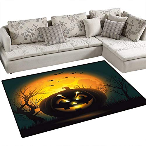 Halloween Area Rugs for Bedroom Fierce Character Evil Face Ominous Aggressive Pumpkin Full Moon Bats Door Mats for Inside Non Slip Backing 55