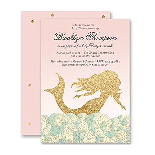 Mermaid Baby Shower Invitations Blush Pink Gold Glitter Look Personalized Boutique Invites With Envelopes
