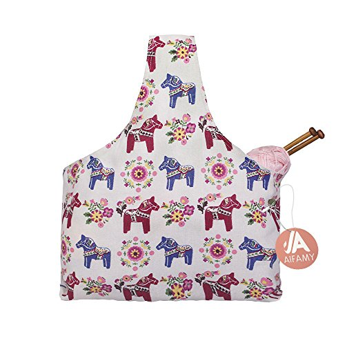 Knitting Tote Bag for Travel Yarn Storage Durable Canvas Yarn Bag for Small Projects, Cute Pony