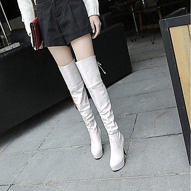 Otoño Boda 10 Stiletto Moda Gll Mujer Negro Cms Blanco Brown 12 Cremallera Semicuero Cordón Botas amp;xuezi Invierno Marrón Con Tacón De ATYO8T